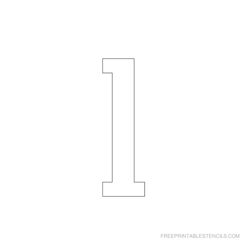 Printable 2 inch Number Stencil 1