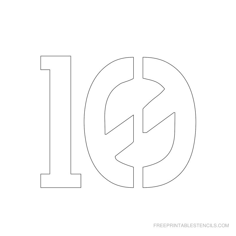 Printable 2 inch Number Stencil 10