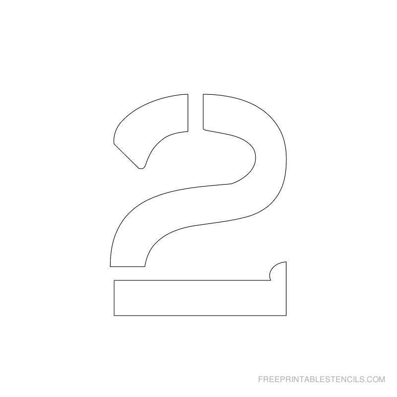 Printable 2 inch Number Stencil 2