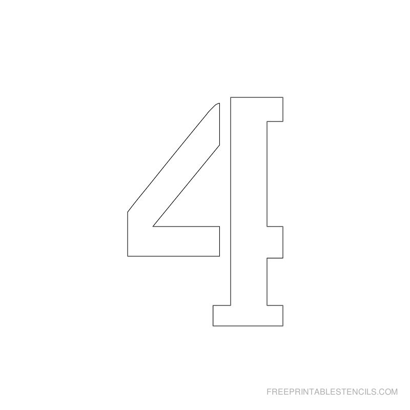 Printable 2 inch Number Stencil 4
