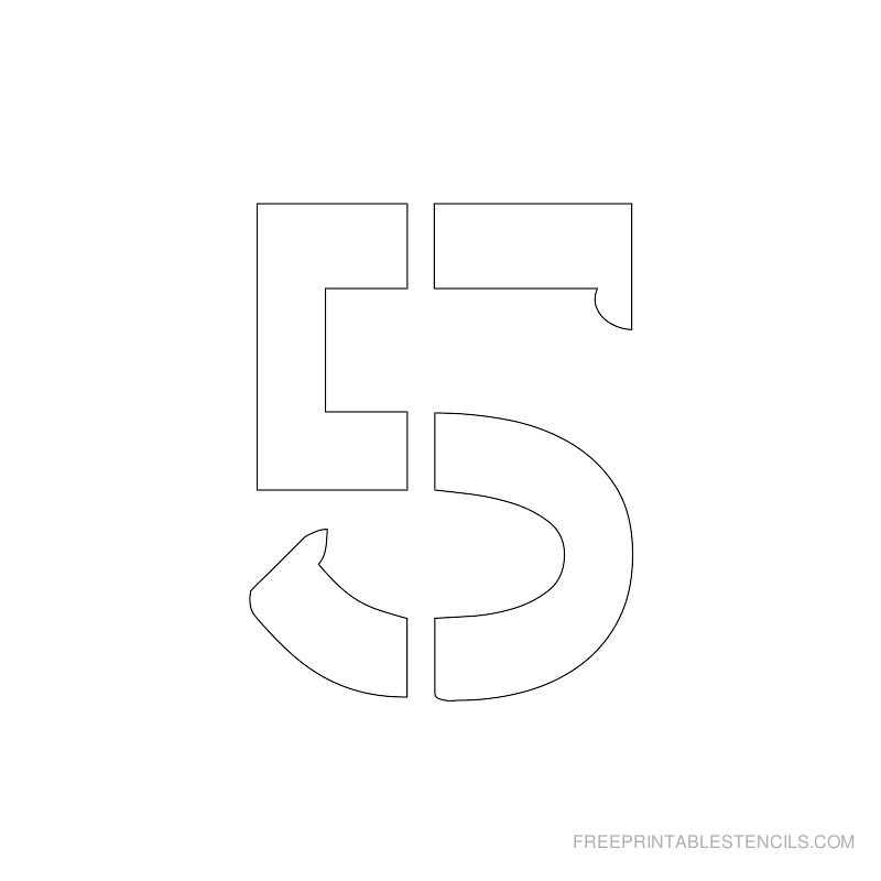 Printable 2 inch Number Stencil 5