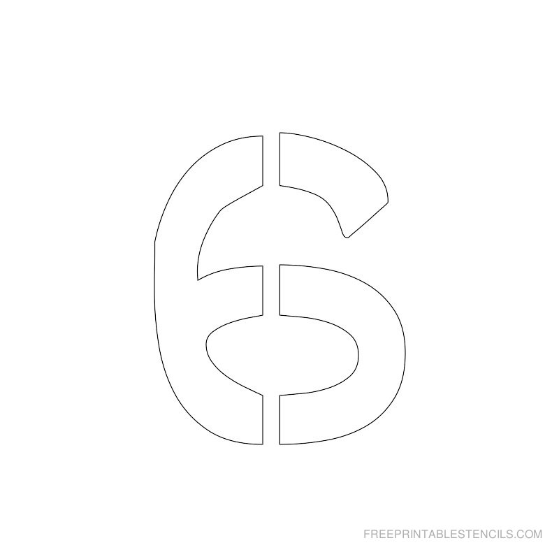 Printable 2 inch Number Stencil 6