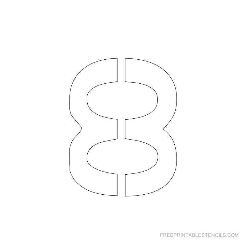Printable 2 inch Number Stencil 8