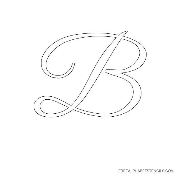 Cursive Letter Alphabet Stencil B