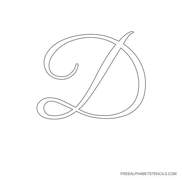 Cursive Letter Alphabet Stencil D