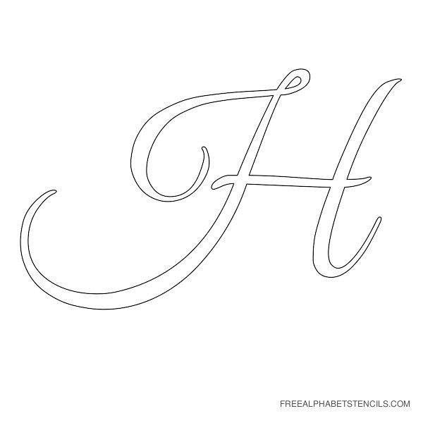 Cursive Letter Alphabet Stencil H