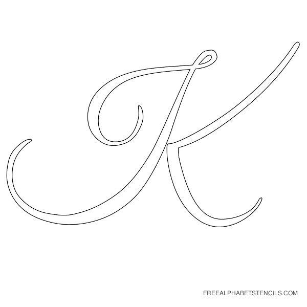 Cursive Letter Alphabet Stencil K