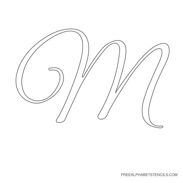 Cursive Letter Alphabet Stencil M