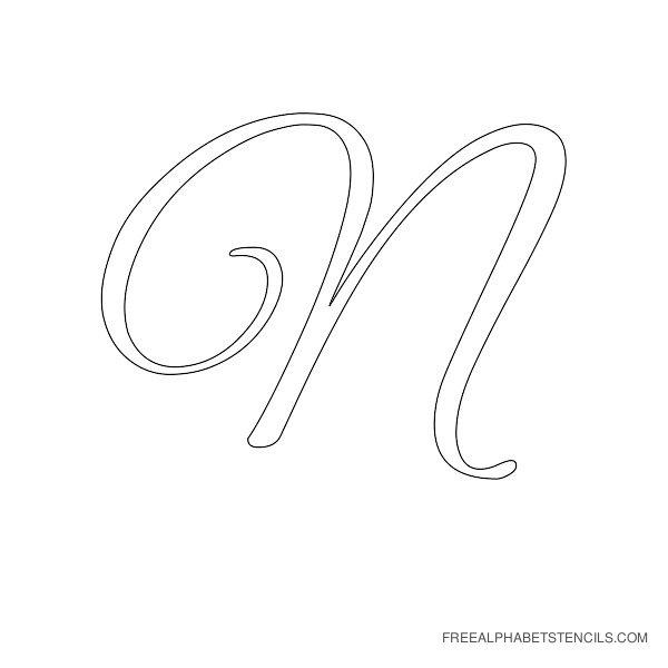 Cursive Letter Alphabet Stencil N