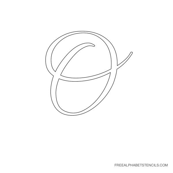 Cursive Letter Alphabet Stencil O