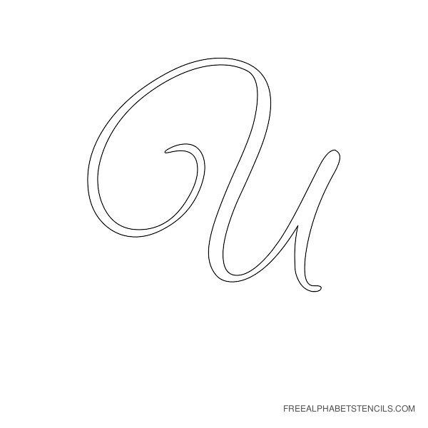 Cursive Letter Alphabet Stencil U