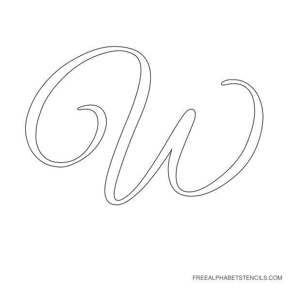 Cursive Letter Alphabet Stencil W