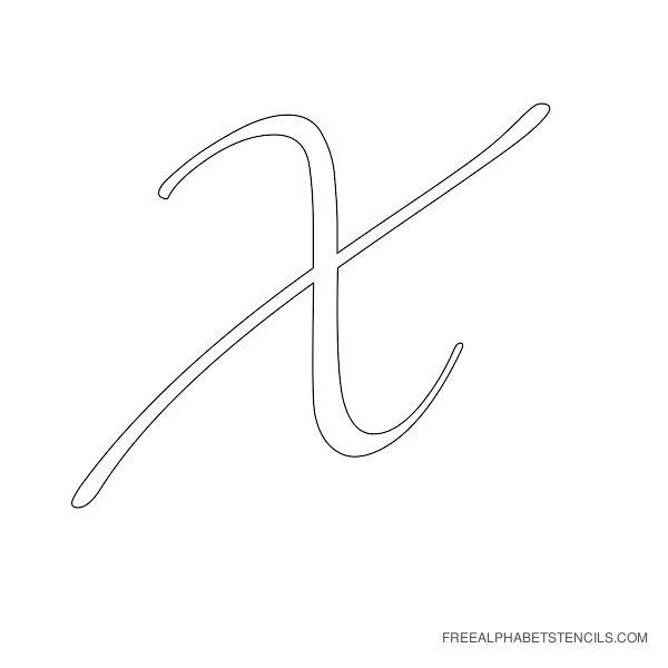 Cursive Letter Alphabet Stencil X