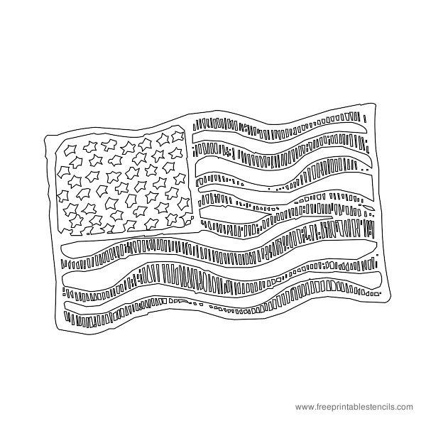 Christmas Printable Stencil USA Flag