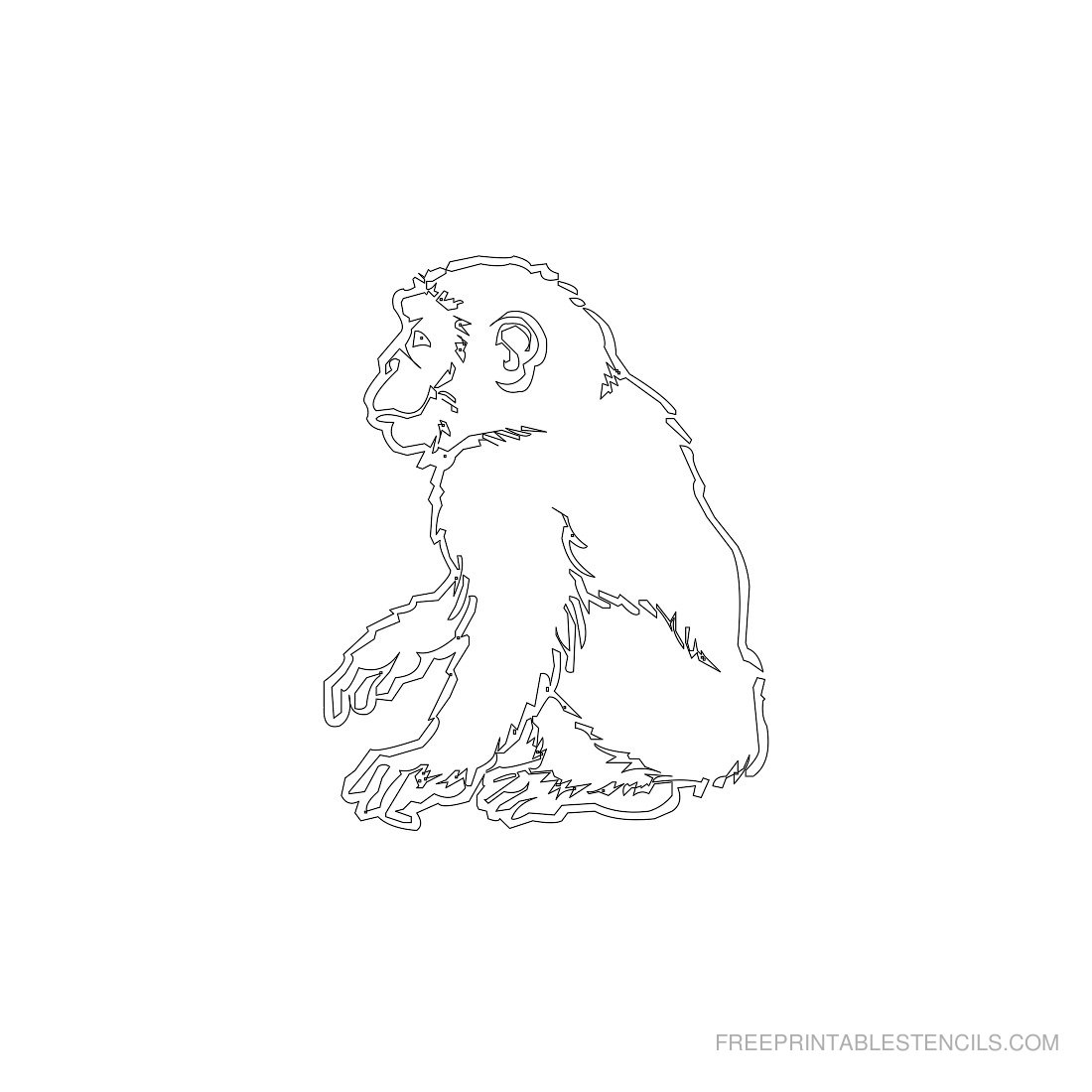 Free Printable Animal Stencil Monkey
