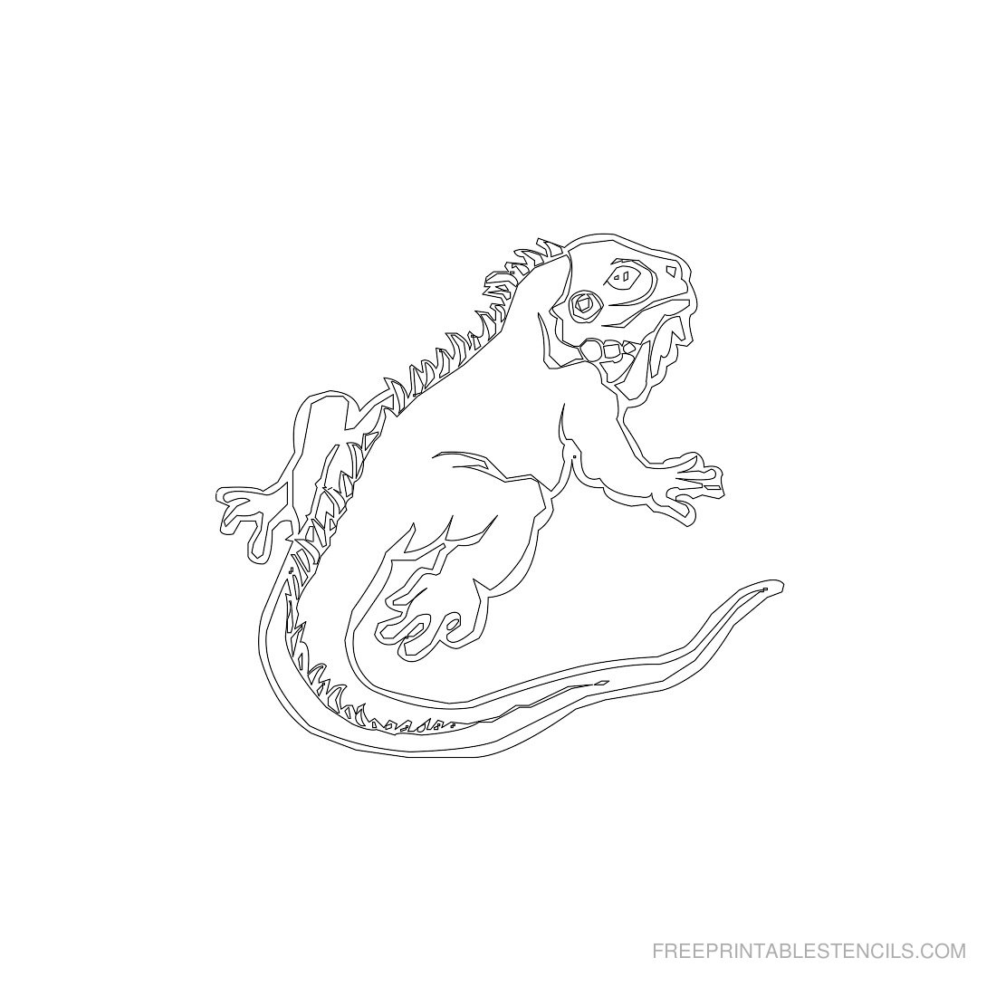 Free Printable Animal Stencil Iguana