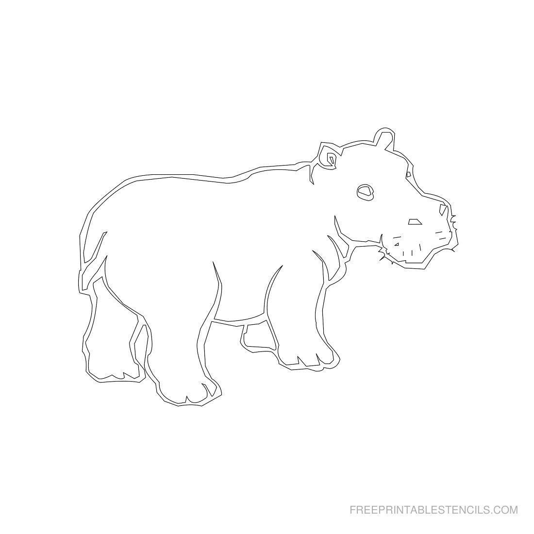 Free Printable Animal Stencil Hippopotamus