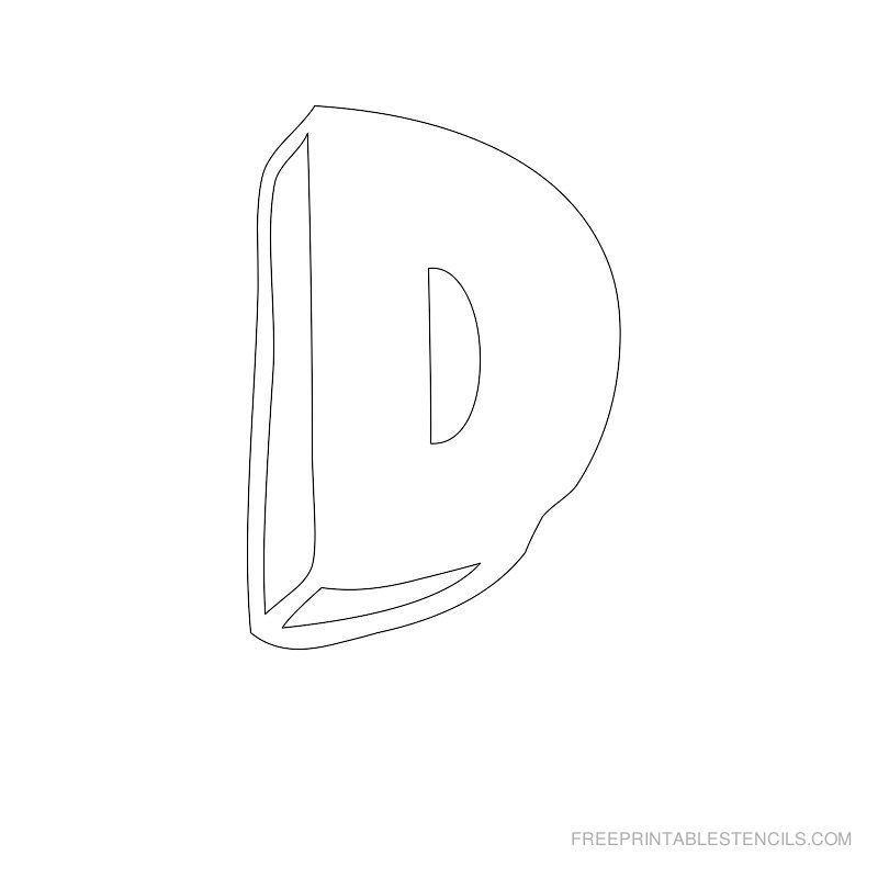 Printable Bubble Letter Stencil D