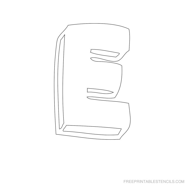 Printable Bubble Letter Stencil E