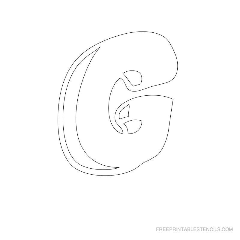 Printable Bubble Letter Stencil G