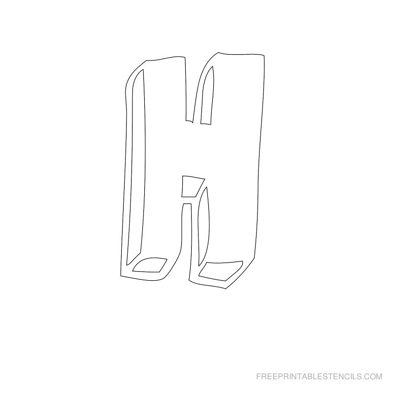 Printable Bubble Letter Stencil H