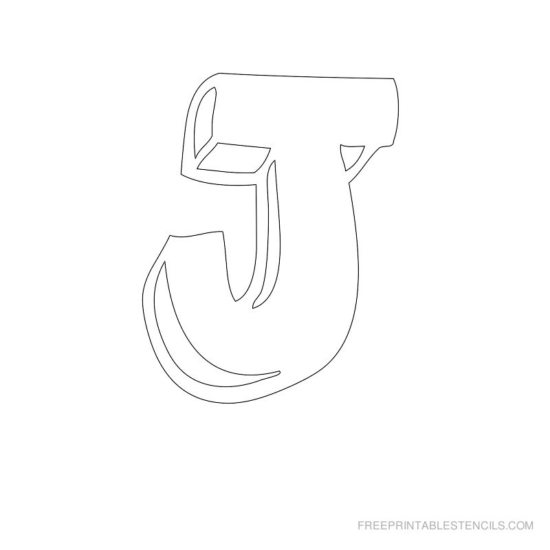 Printable Bubble Letter Stencil J