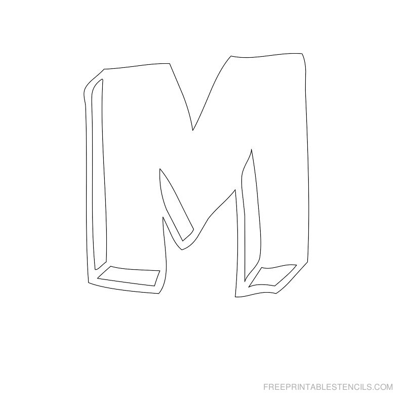 Printable Bubble Letter Stencil M