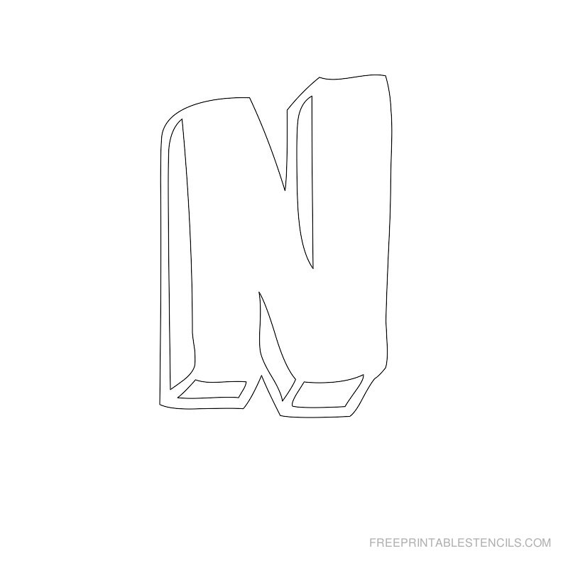 Printable Bubble Letter Stencil N