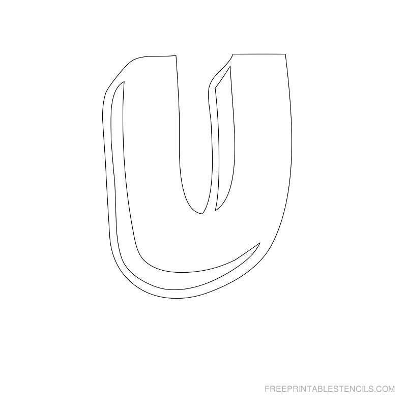 Printable Bubble Letter Stencil U
