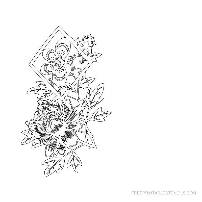 Free Printable Flower Stencil L