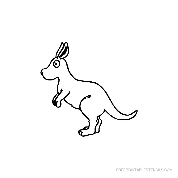Printable kangaroo stencil 2