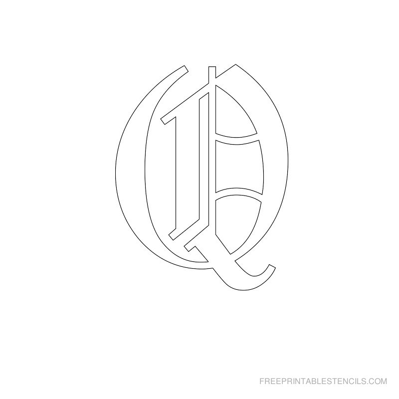 Printable Old English Alphabet Stencil Q