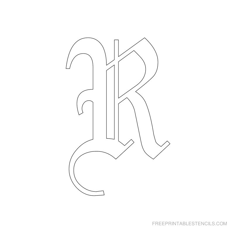 Printable Old English Alphabet Stencil R