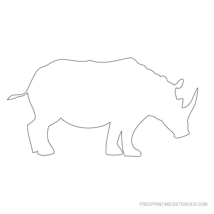 Printable rhinoceros stencil 1