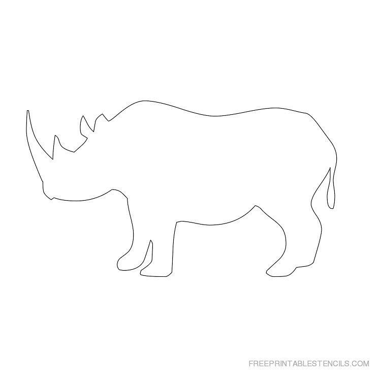 Printable rhinoceros stencil 3