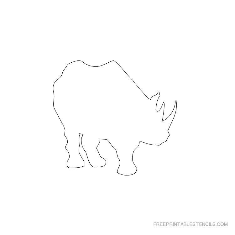 Printable rhinoceros stencil 4