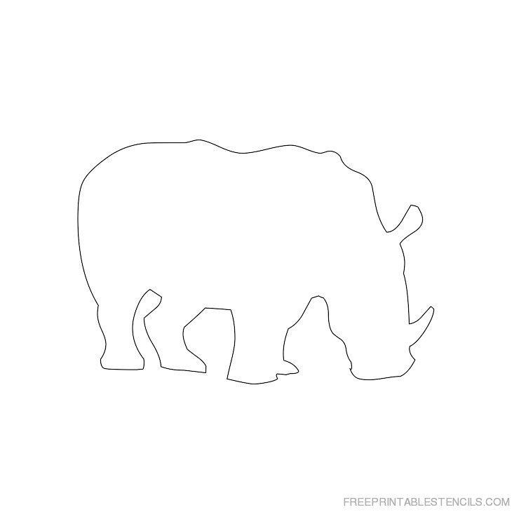 Printable rhinoceros stencil 5