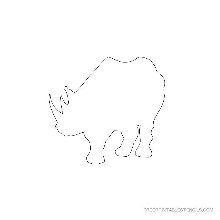 Printable rhinoceros stencil 6