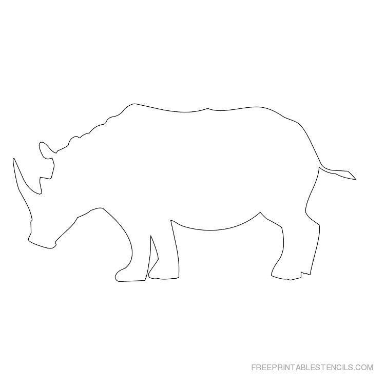 Printable rhinoceros stencil 7