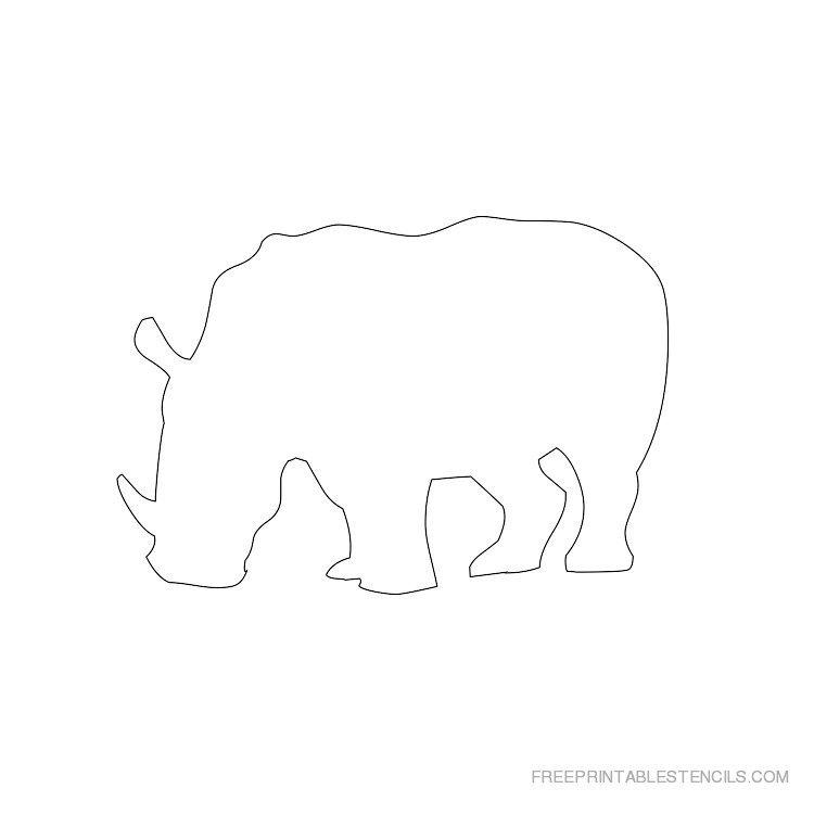 Printable rhinoceros stencil 8